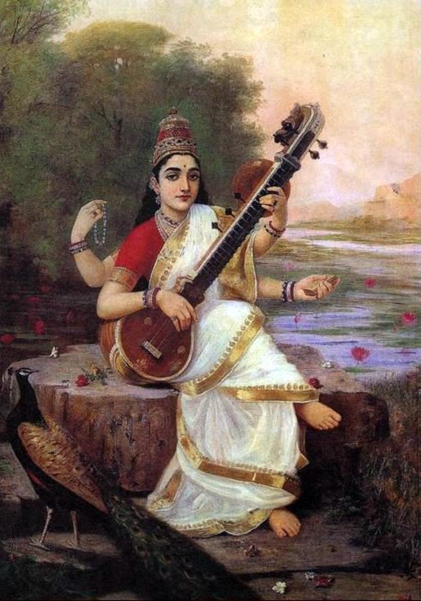 Saraswati : By Raja Ravi Verma (from Wikipedia)
