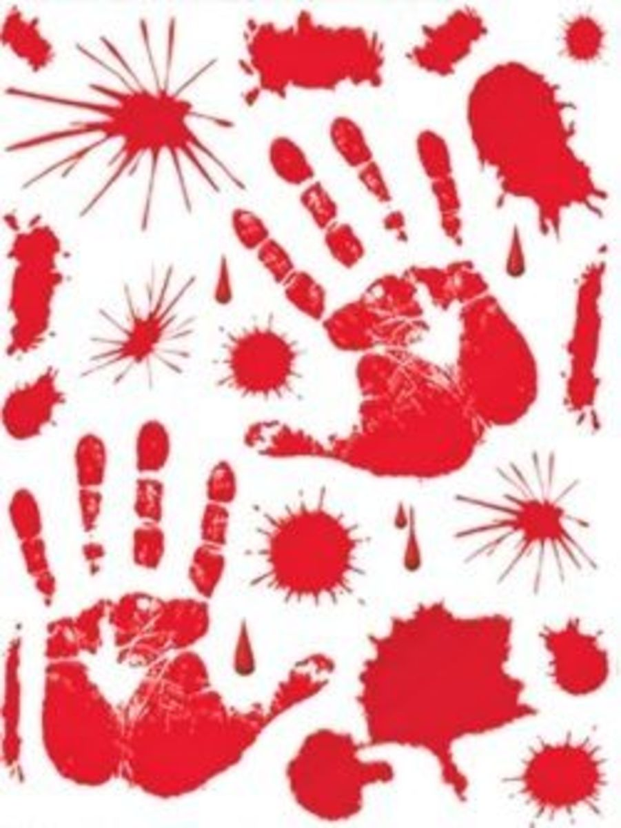 Bloody Hand Print Clings