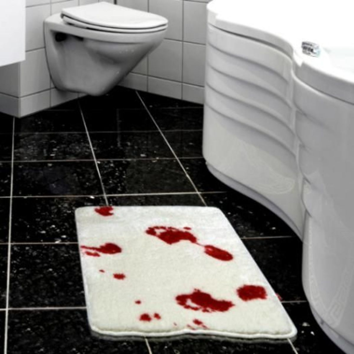 make a bloody bath mat towel or shower curtain bloody bath accessories sure to freak out your houseguests