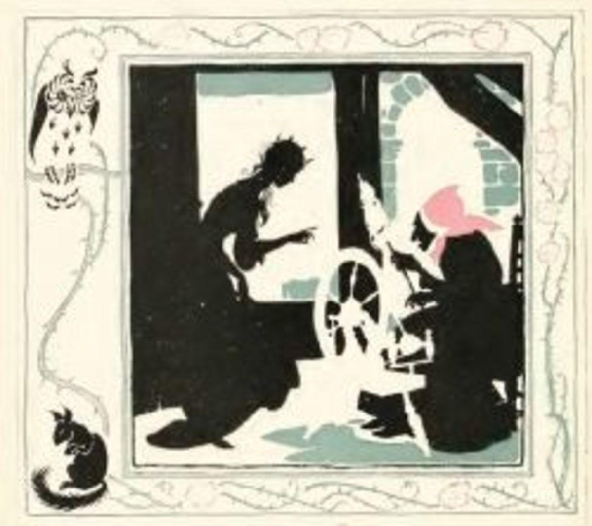 Princess and a spinner (by Arthur Rackahm)