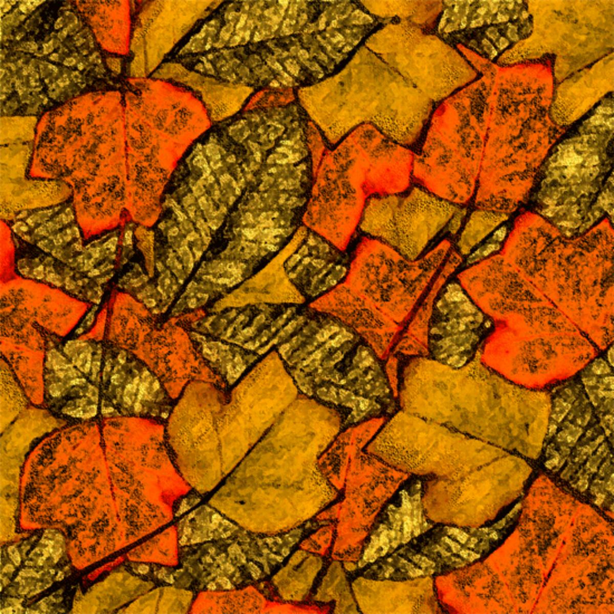 Autumn leaves clip art pattern.