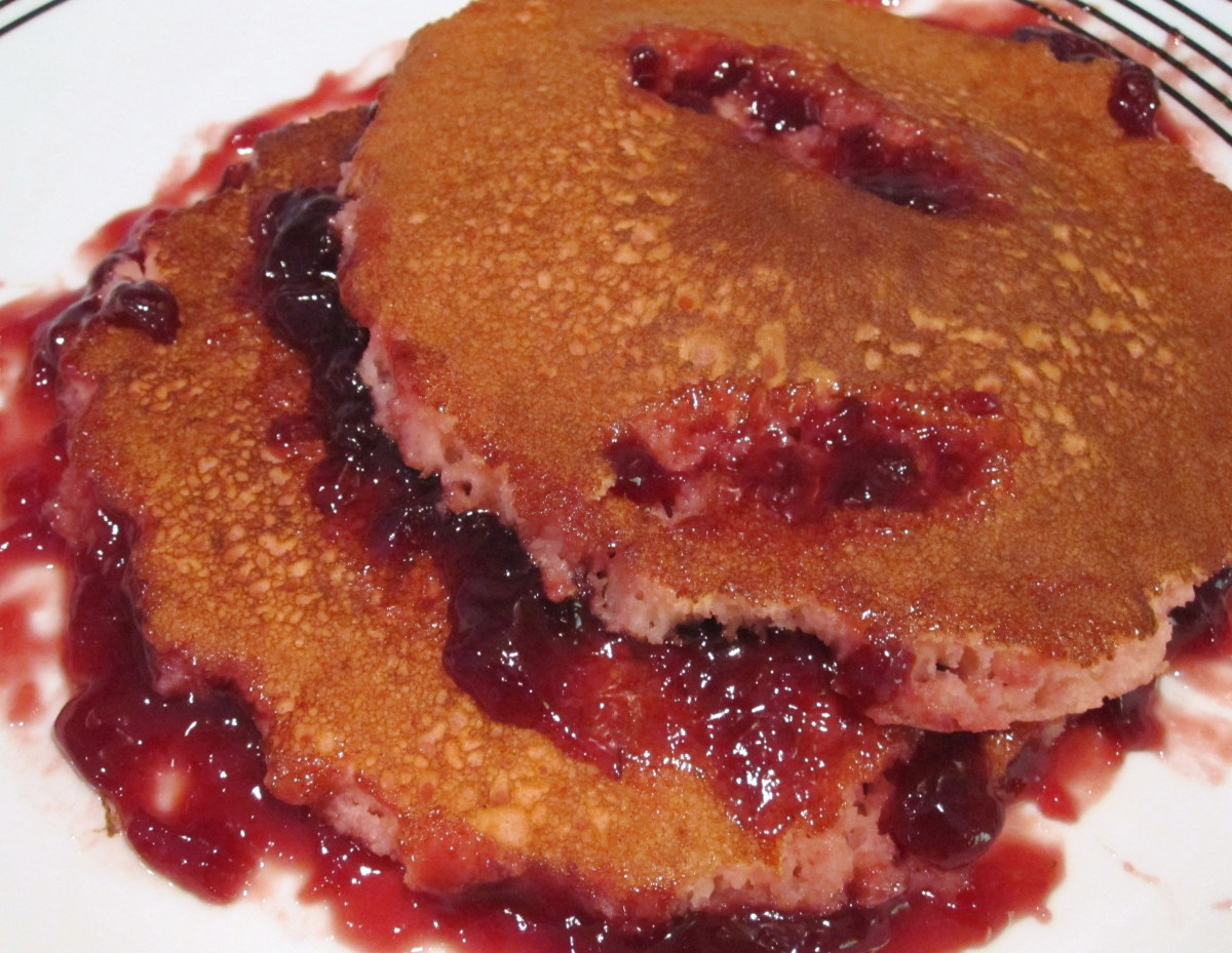 Torn flesh pancakes with blood