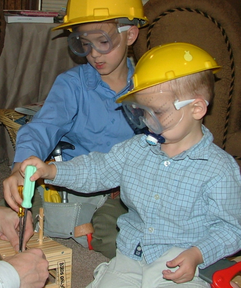 Building a bird house during the activity/lesson on home construction