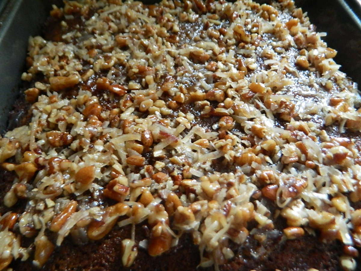 Date Cake with Coconut and Pecan Drizzle Topping ~~ Queen Elizabeth Cake