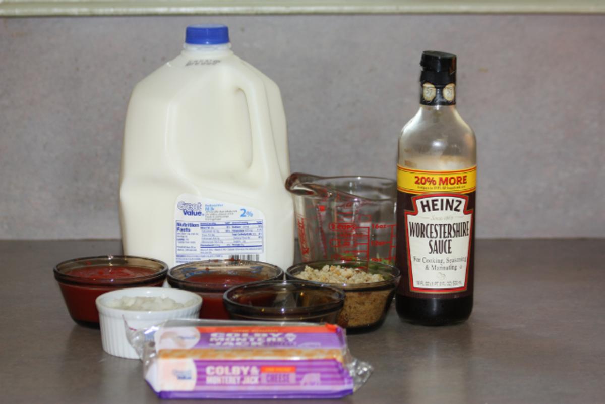 Ingredients for my cheeseburger pie.