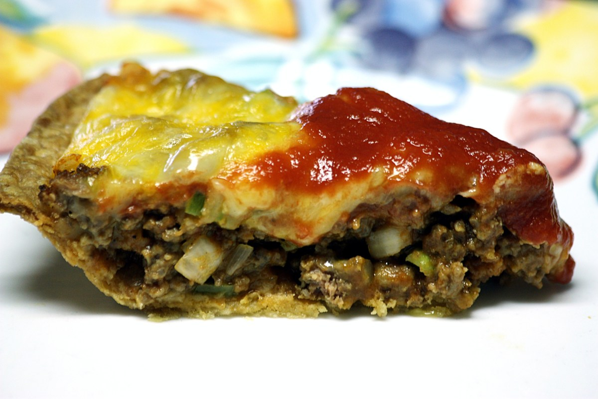Slice of delicious cheeseburger pie!