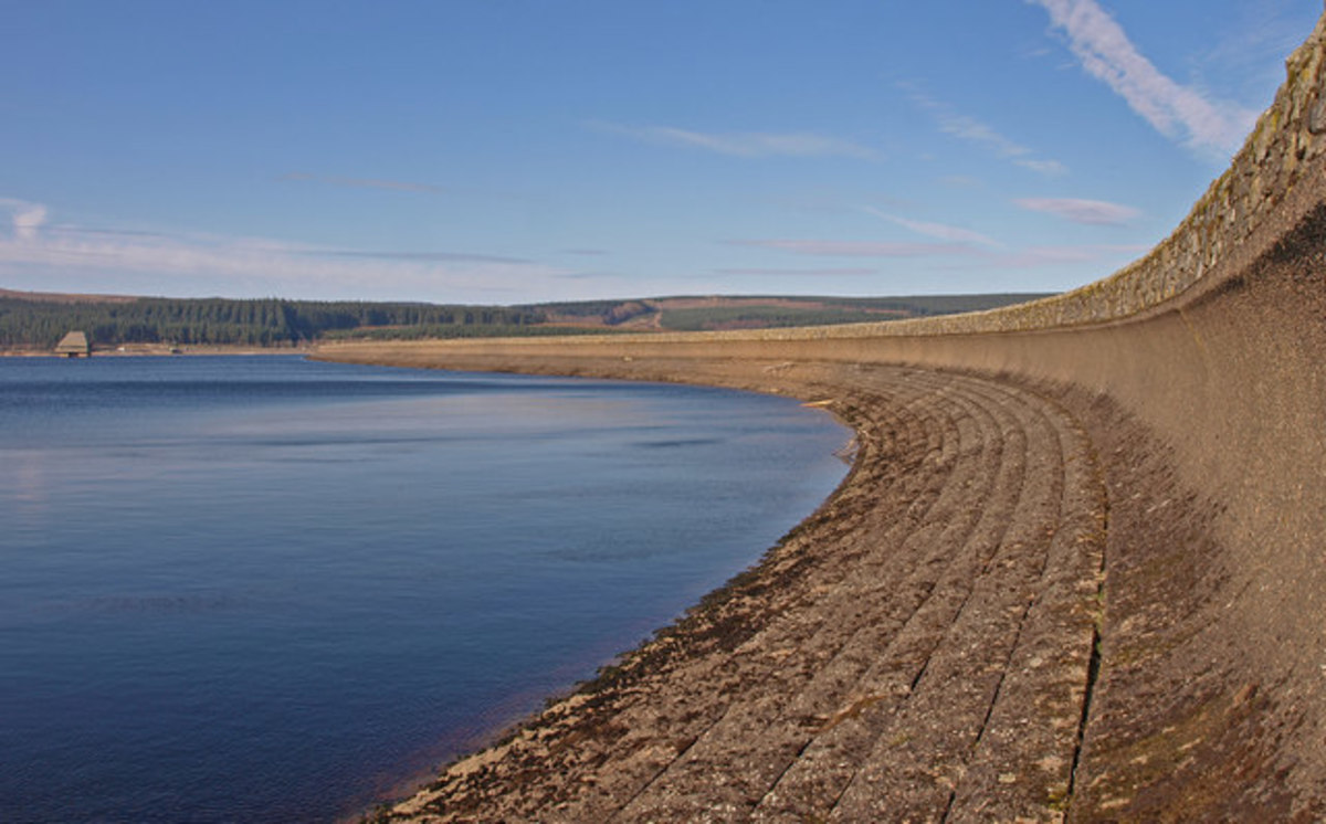 Kielder Water dam wall - the picture was taken the the water level was exceptionally low