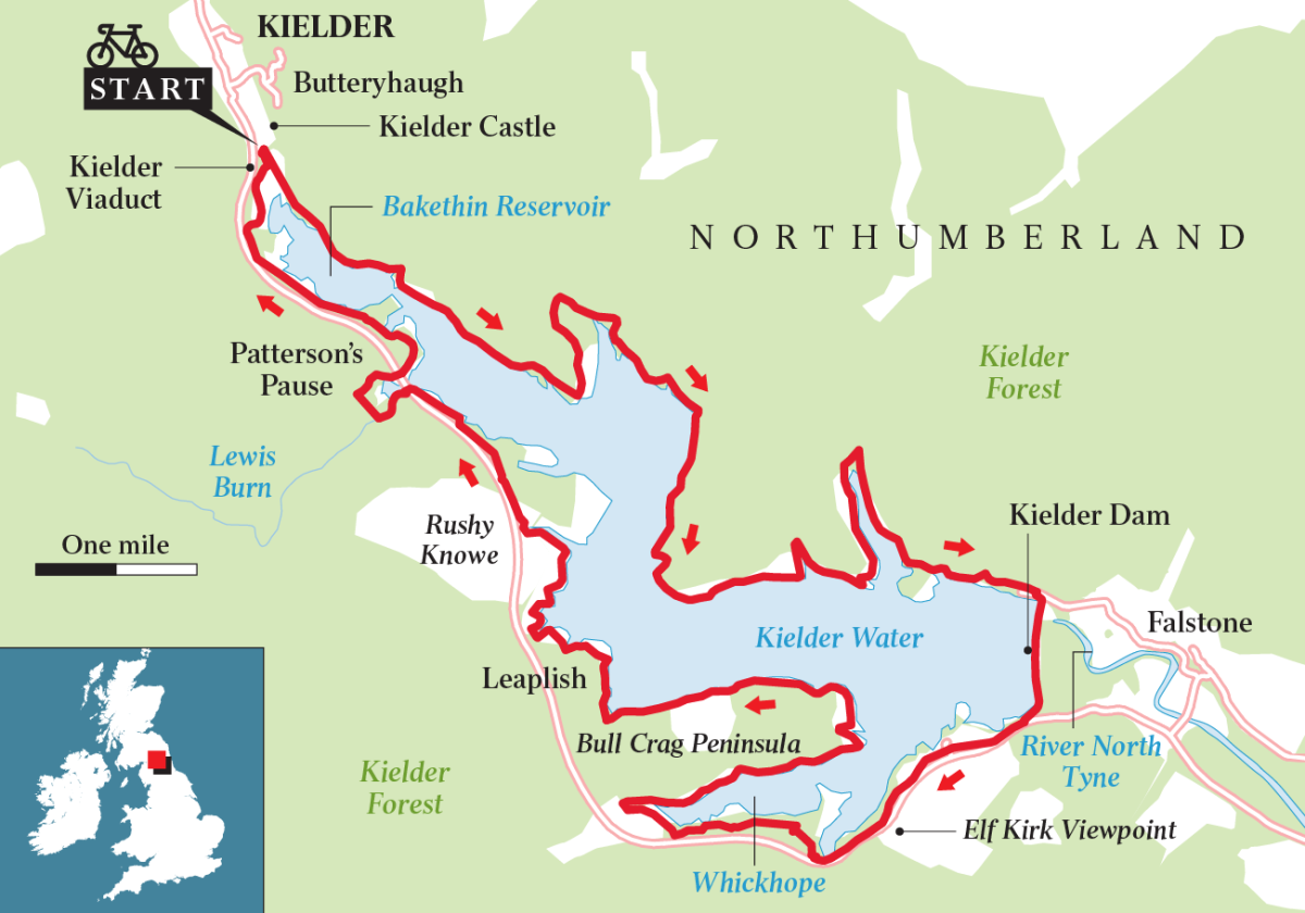Cycle path route around Kielder Lake, travelled by Tour of Britain cyclists in association with the tour de France
