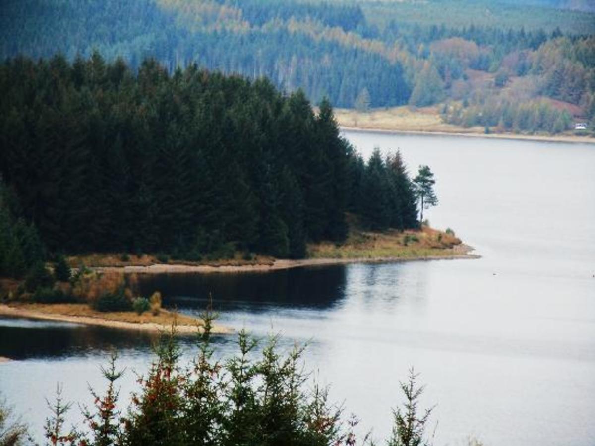 Kielder Water vista seen from a vantage point at Elfkirk View