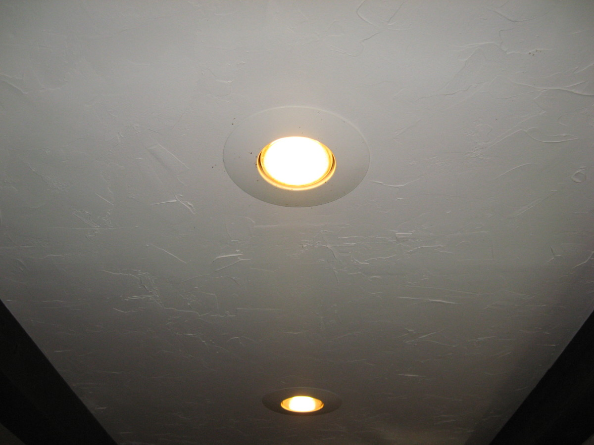 Recessed lighting can make a small bathroom look larger.