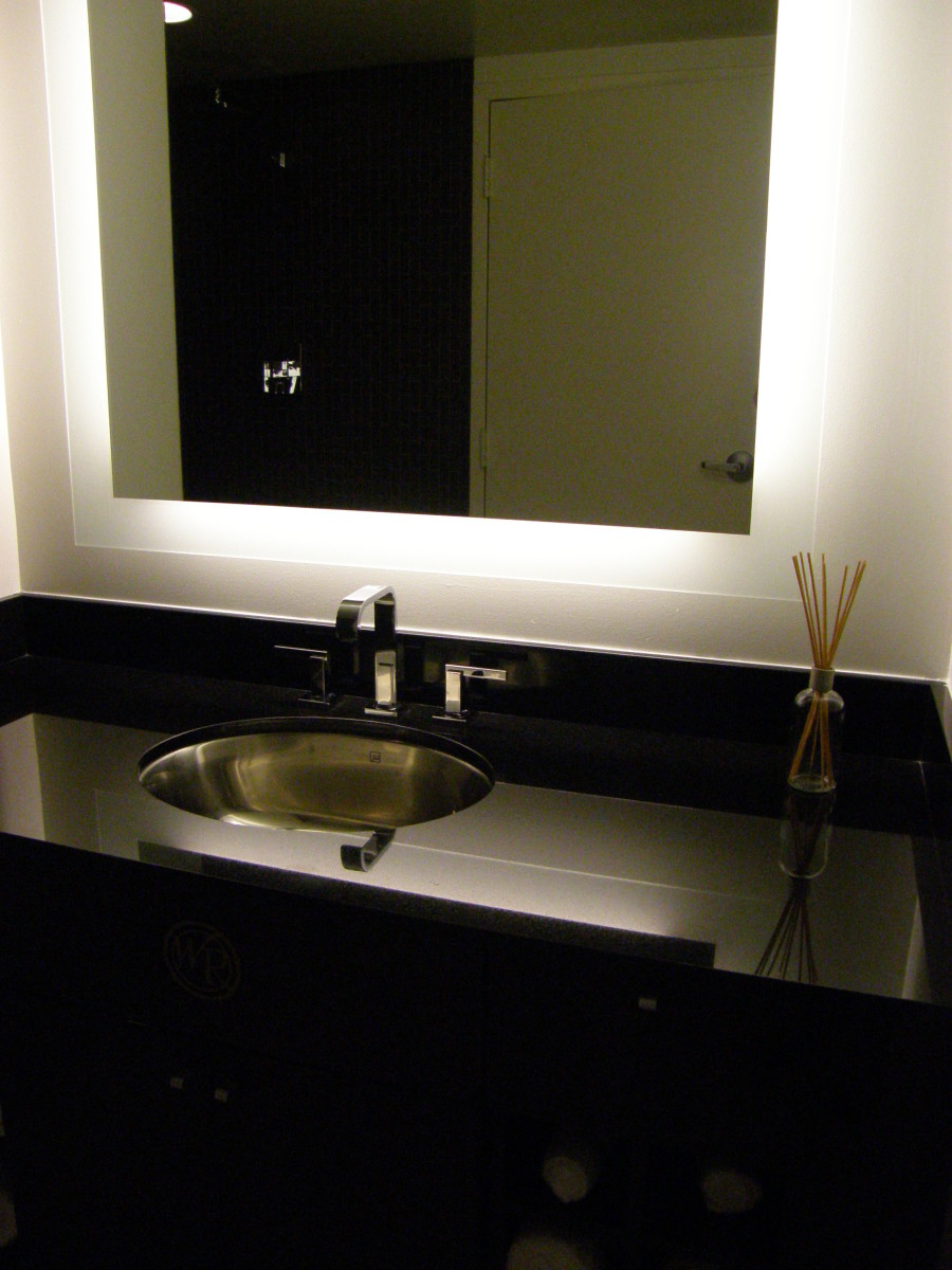 Mirrors can make a small bathroom look larger, too.