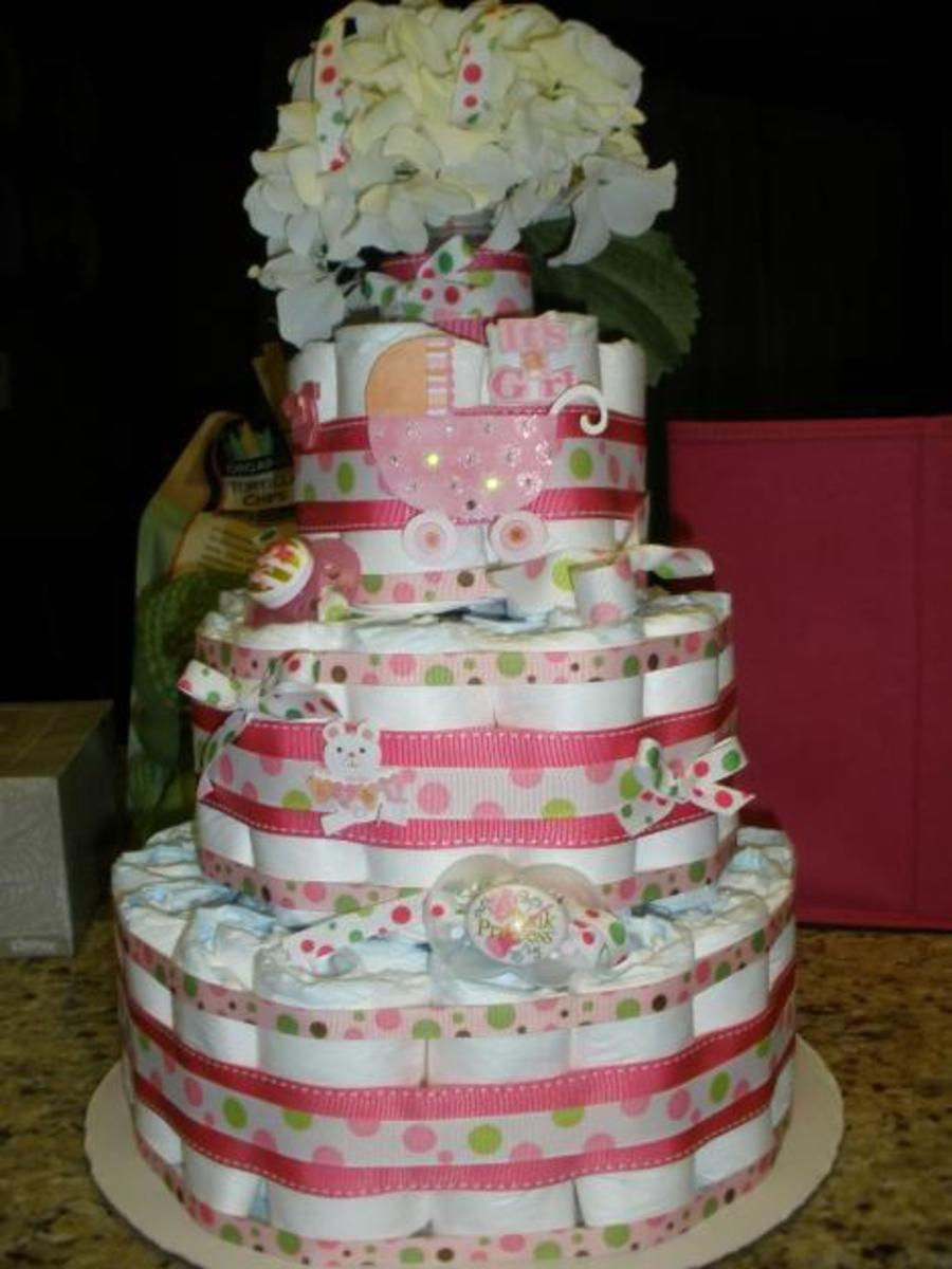 Beautiful Diaper Cake for Baby Shower