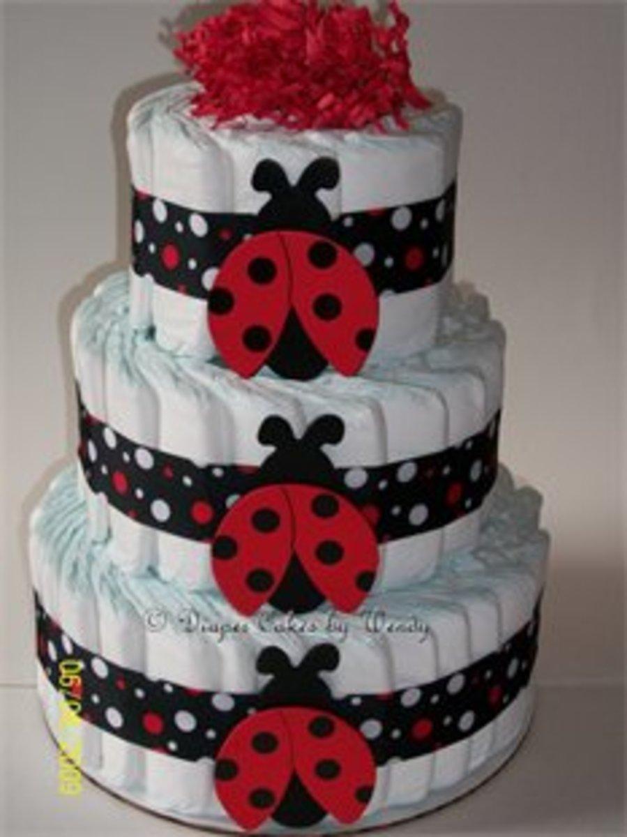 ladybug diaper cake for baby shower