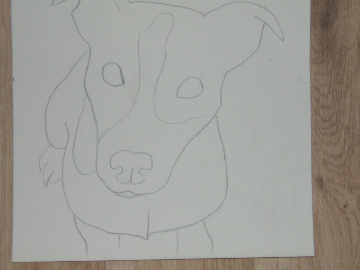 Jack Russell image traced on to Pastelmat