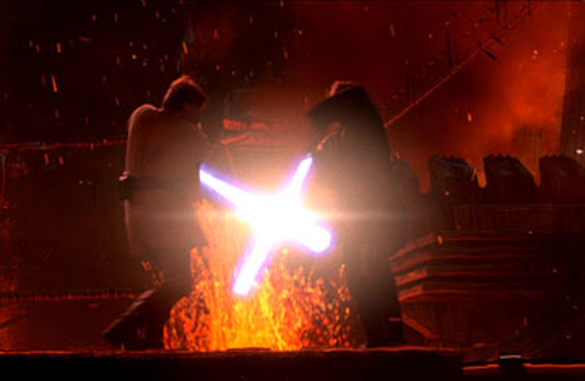 Anakin Skywalker and Obi Wan Kenobi duel on Mustafar.