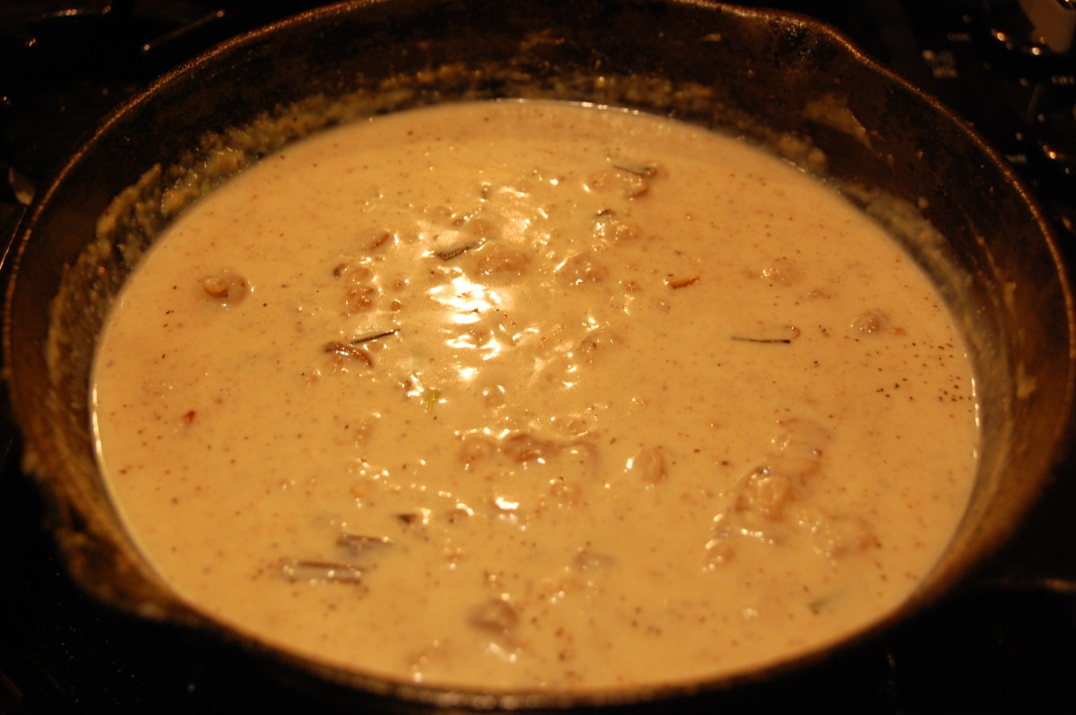 Mushroom gravy made with pan scrapings, unbleached flour and milk