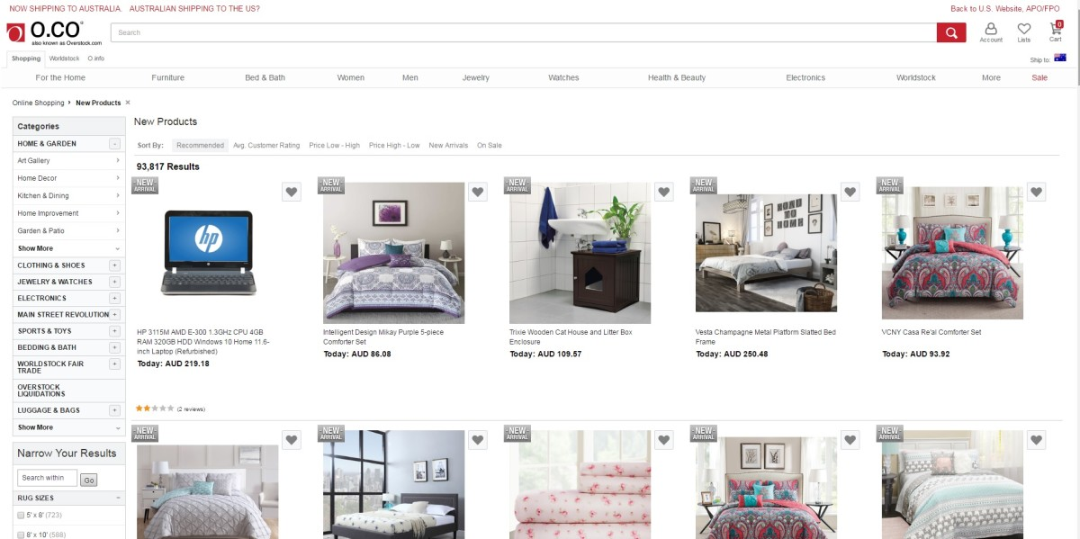 Overstock Category Page