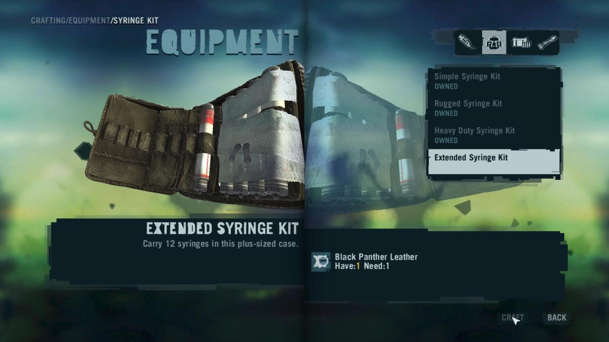 Far Cry 3 Crafting Guide - Extended Syringe Kit: Time to craft!