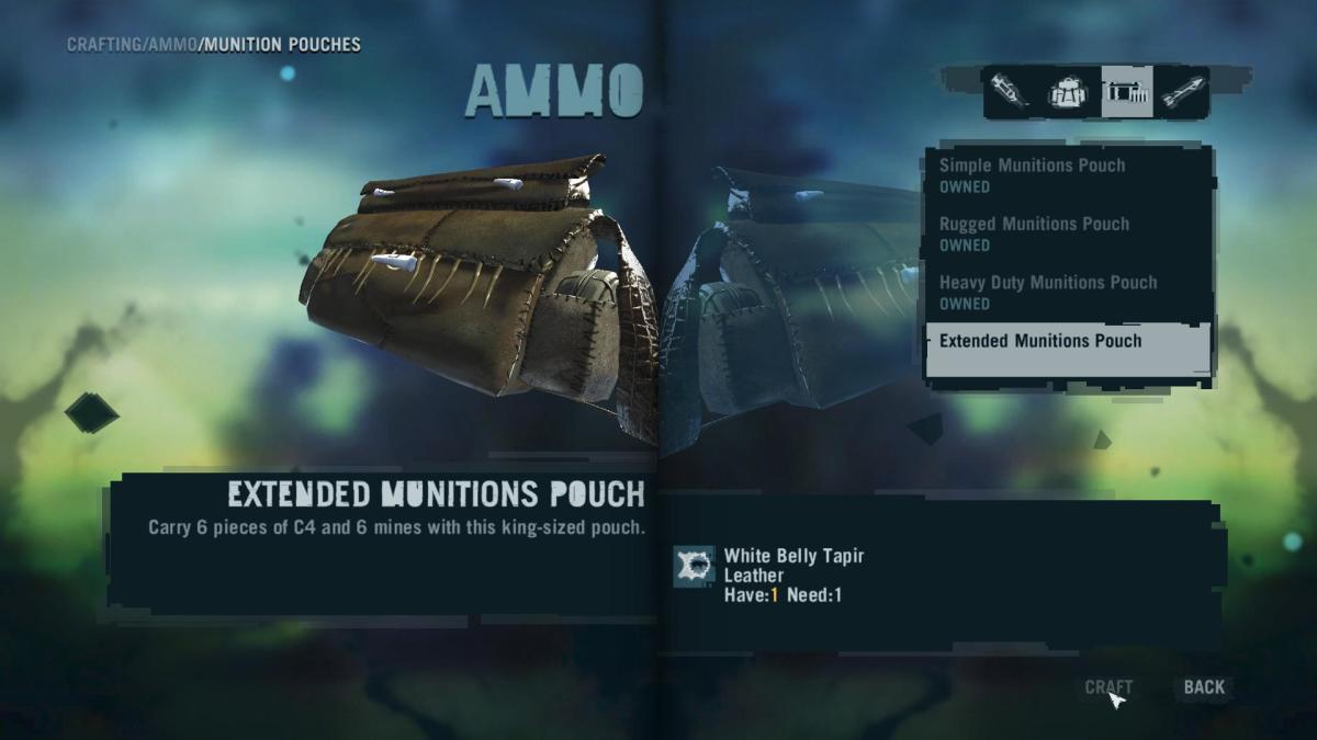 Far Cry 3 Crafting Guide - Extended Munitions Pouch: Crafting Time!
