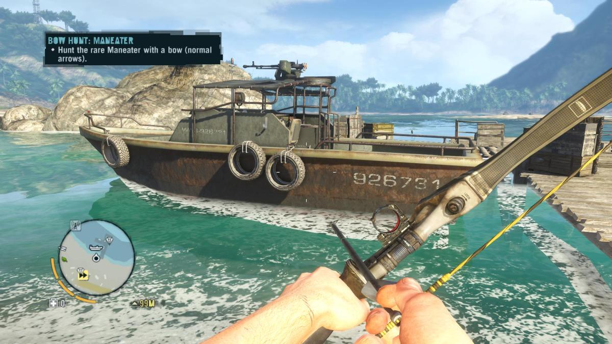 Far Cry 3 Crafting Guide - Extended Arrow Quiver: Jaws-esque Boat!