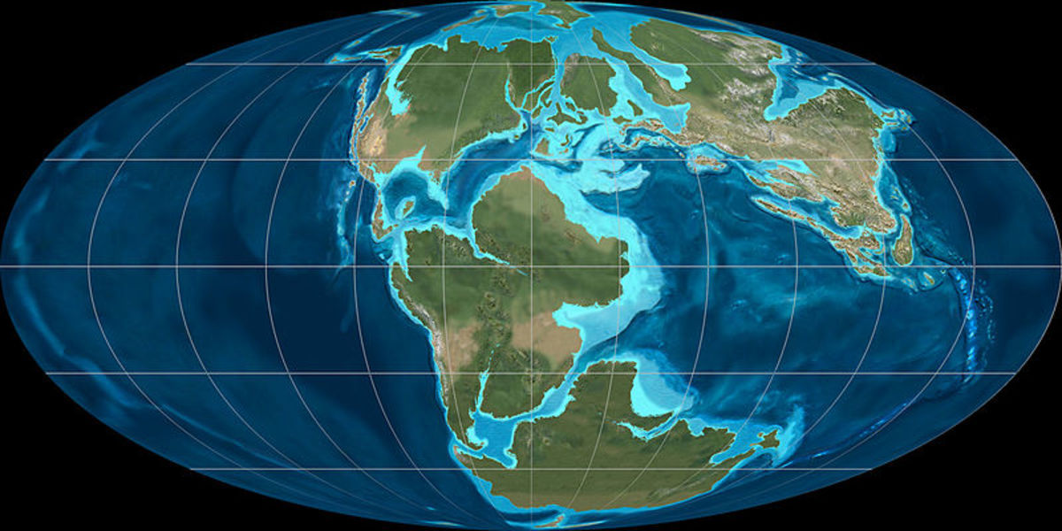 This map shows the positions of the Earth's continents during the Jurassic Period.