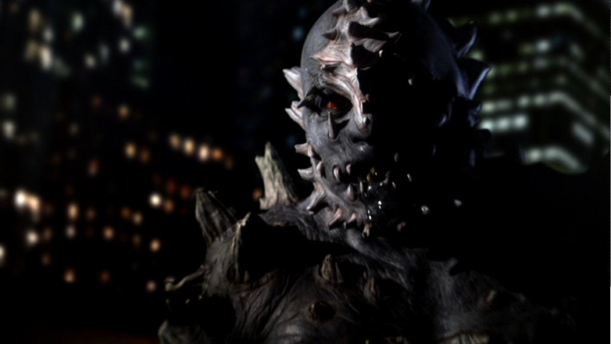 Doomsday was shown in dark lighting to help with the believability of his appearance.