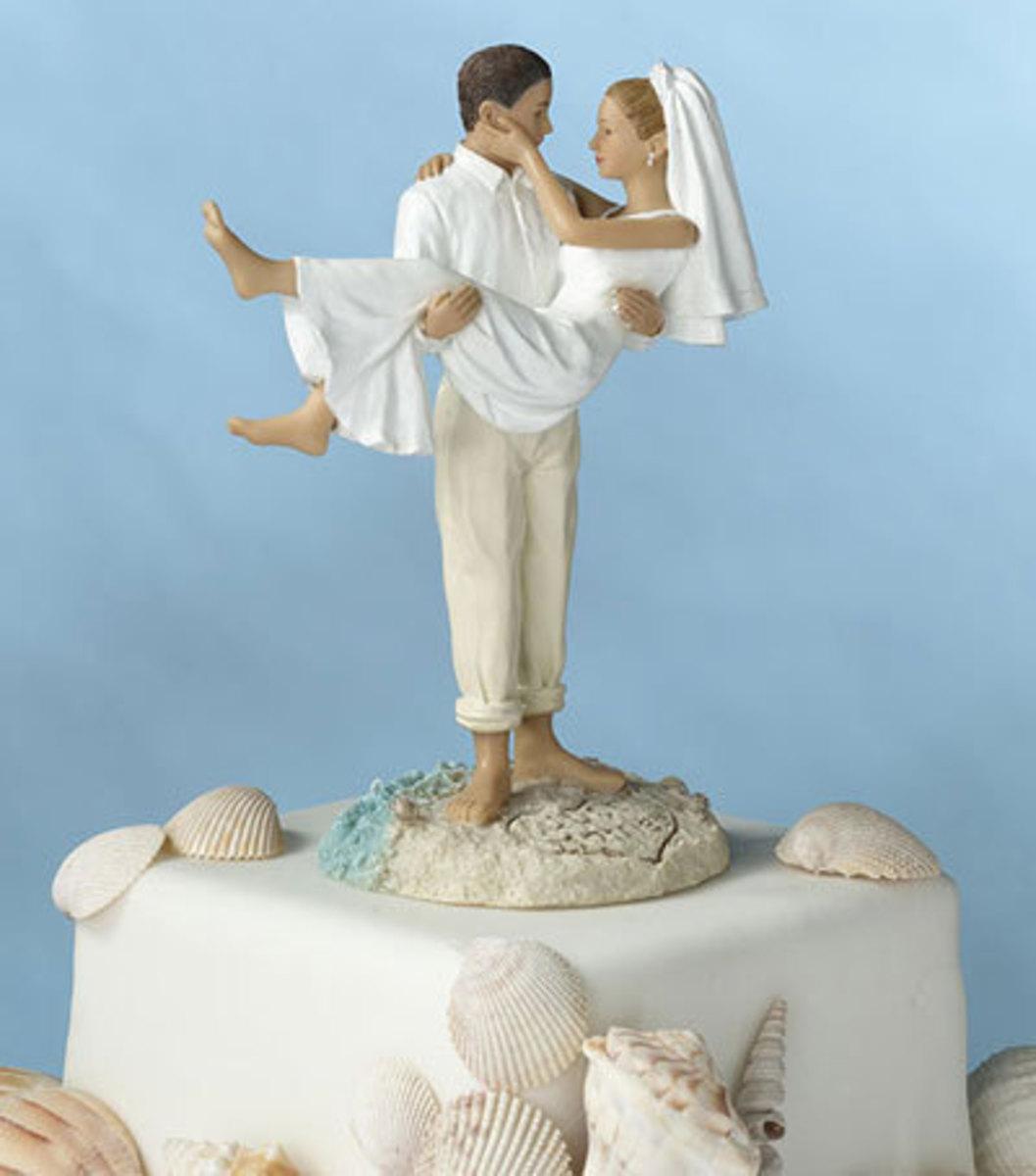 Just Married Beach Wedding Cake Topper