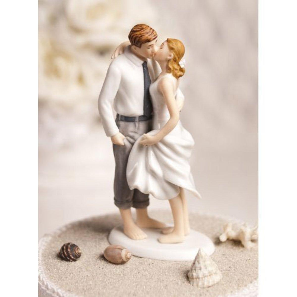 Romantic Getaway Beach Wedding Cake Topper