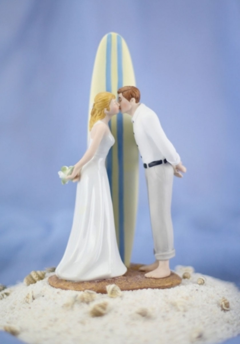 Beach Lovers Wedding Cake Topper