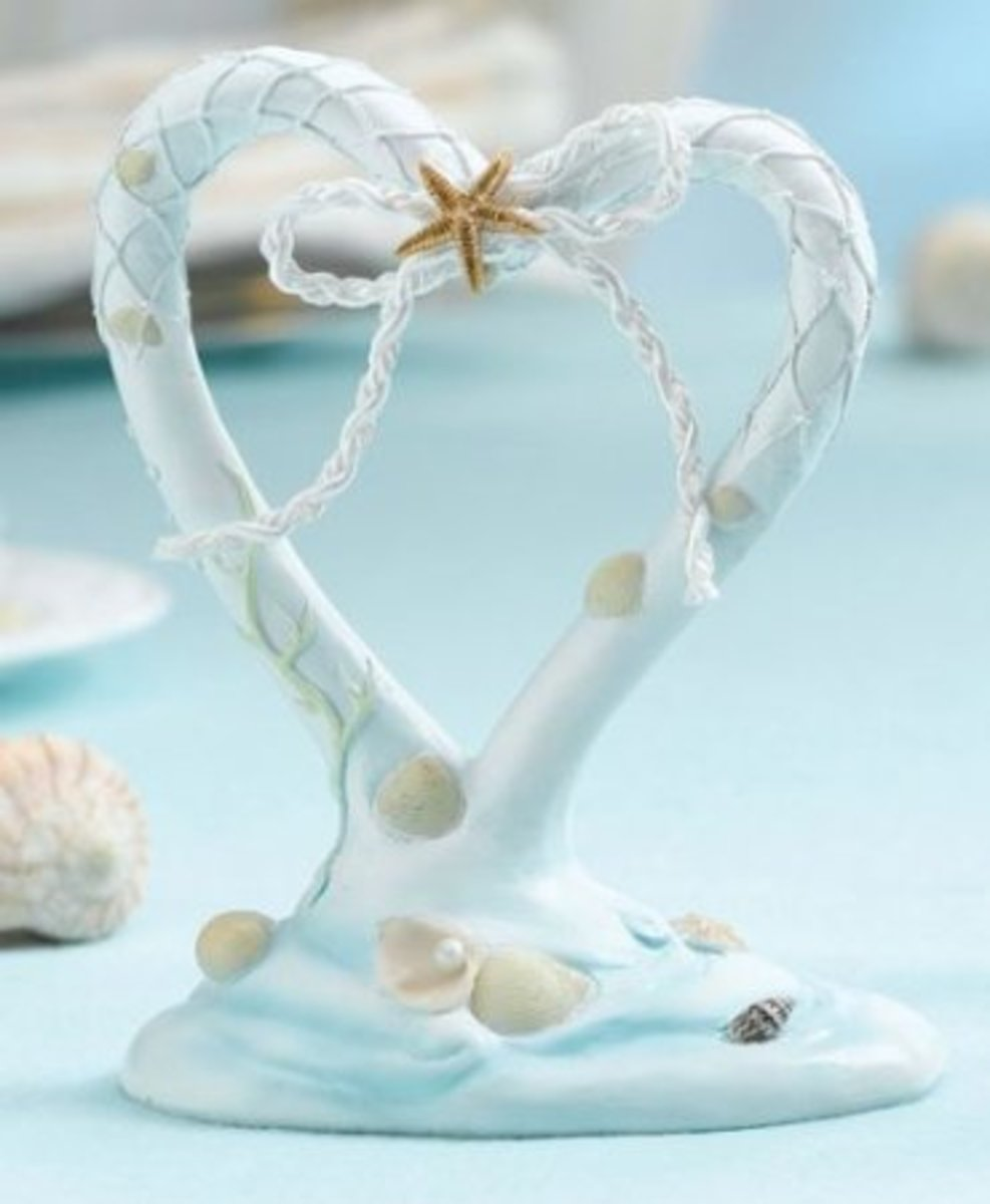 Heart Shaped Beach Wedding Cake Topper
