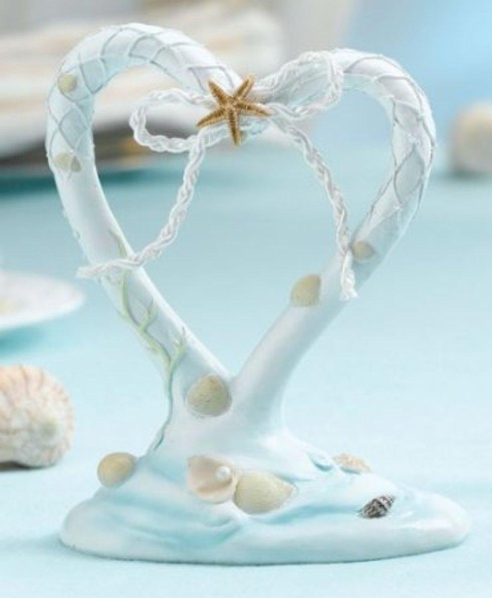 Heart Shaped Beach Wedding Cake Topper