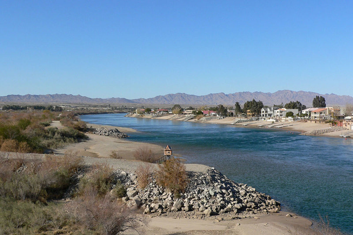 The Colorado River at Needles, California, looking northwest, was photographed by Stan Shebs on December 23, 2006.