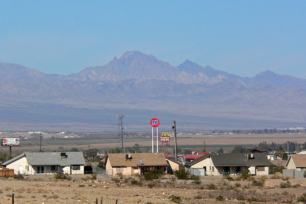 Spirit Mountain, seen from Needles, California, was photographed by Stan Shebs on December 23, 2006.