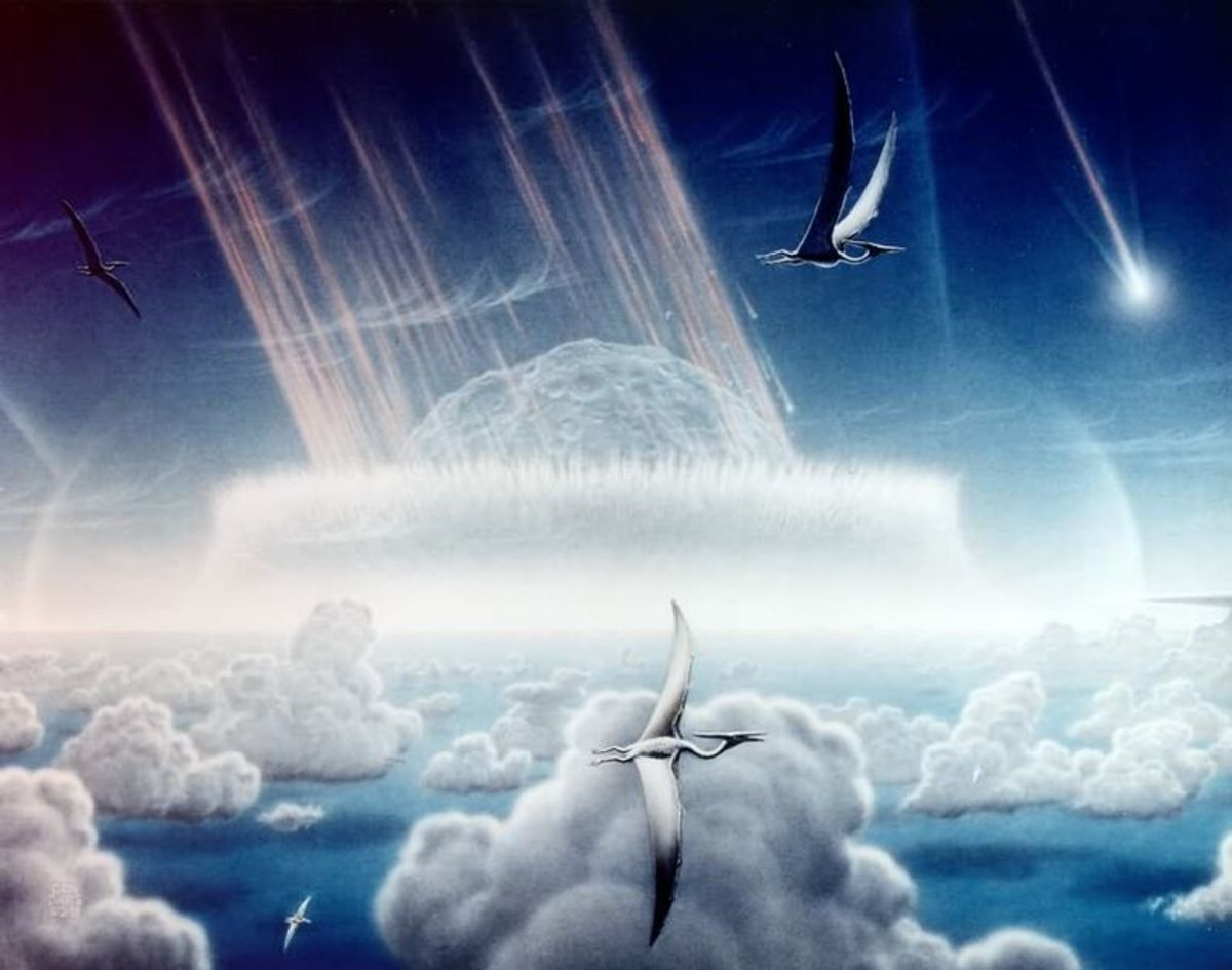 An artists impression of the meteor impact that occurred 65 million years ago.