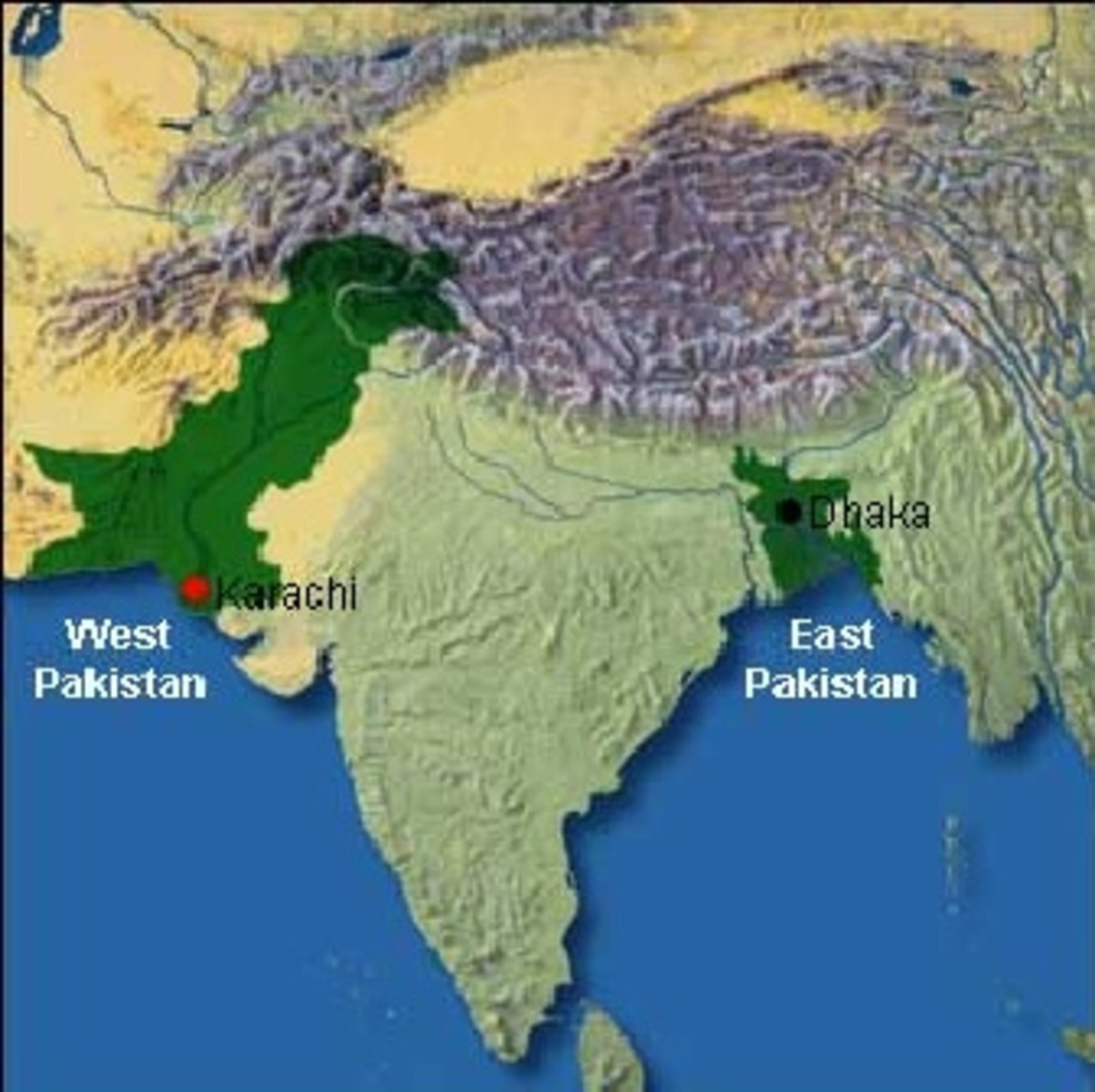 Geographical location of the former East Pakistan. (Kashmir region remains a disputed area.)