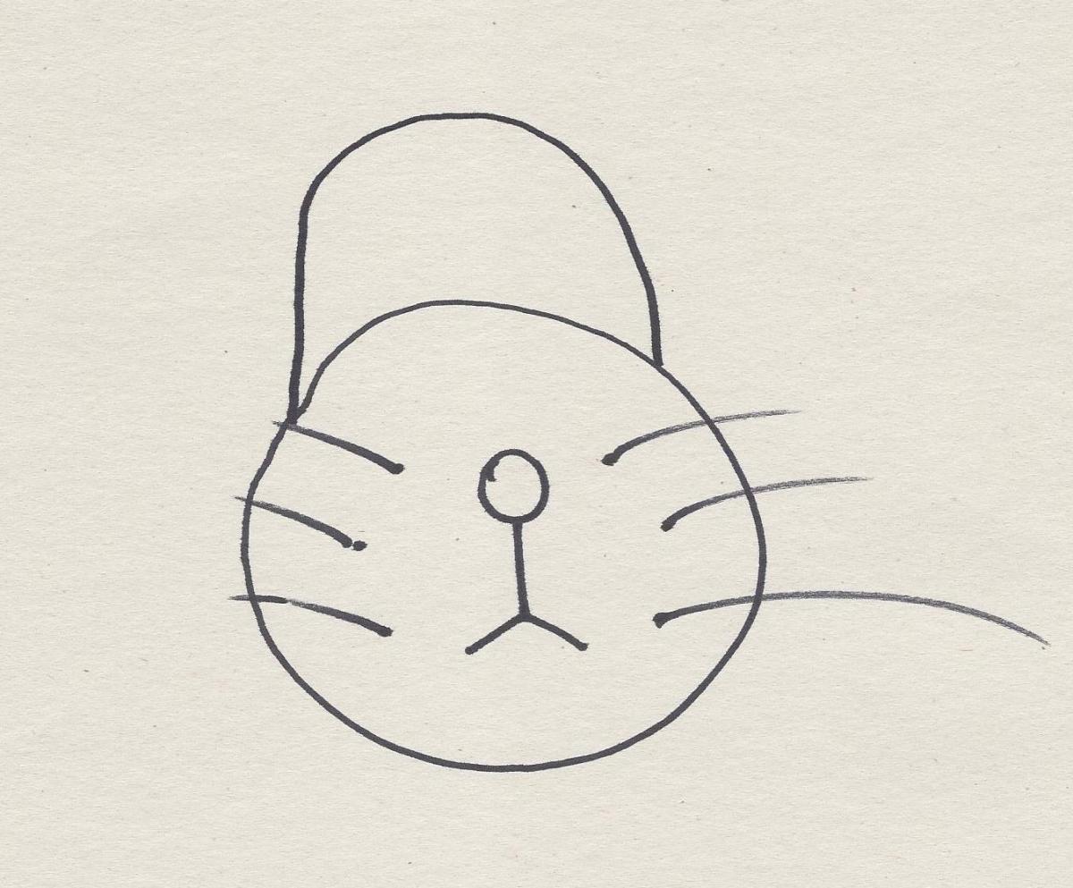 Draw a semi-circle just above the circle.