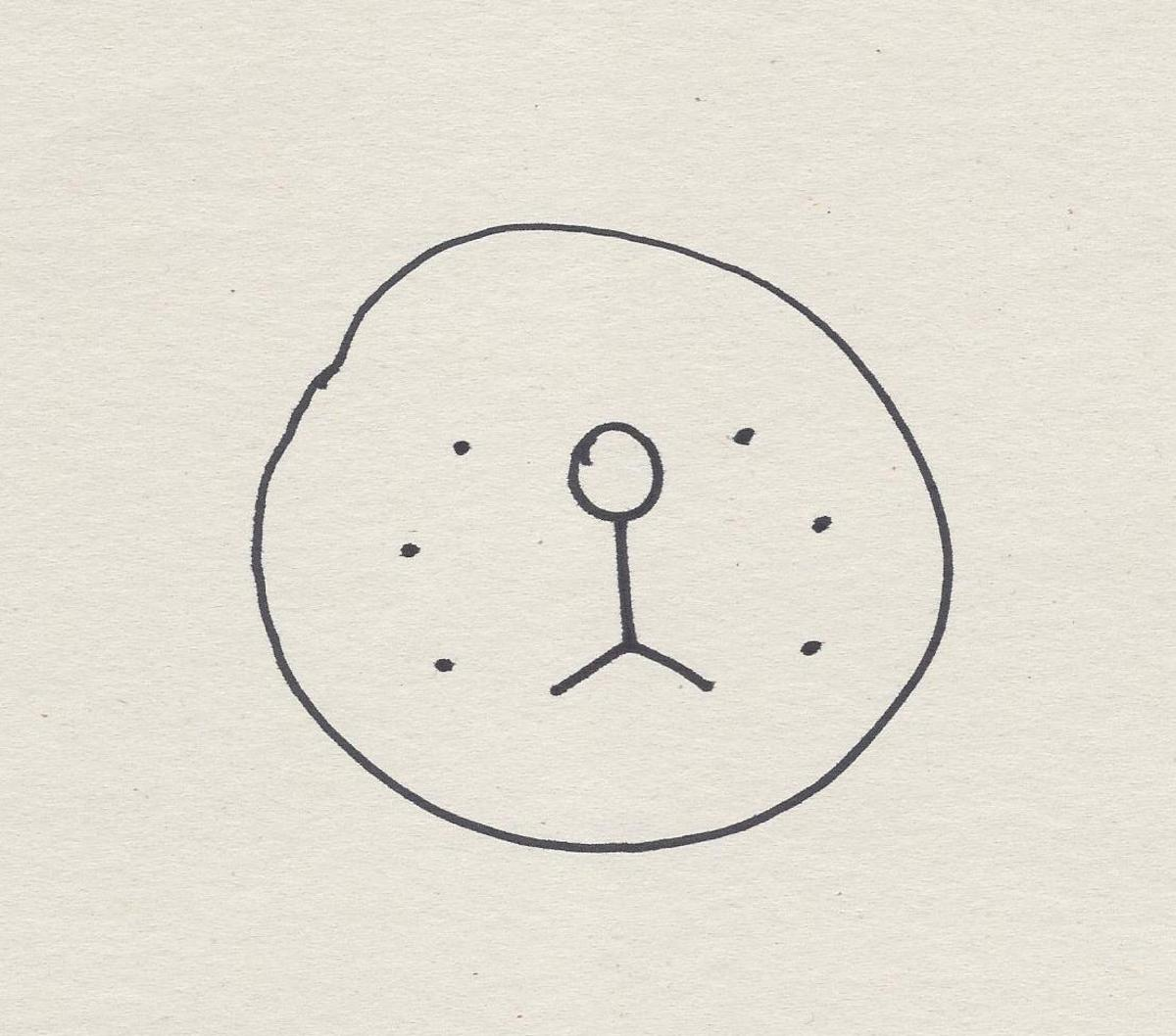 Draw 3 dots or so on each side of the stick figure.