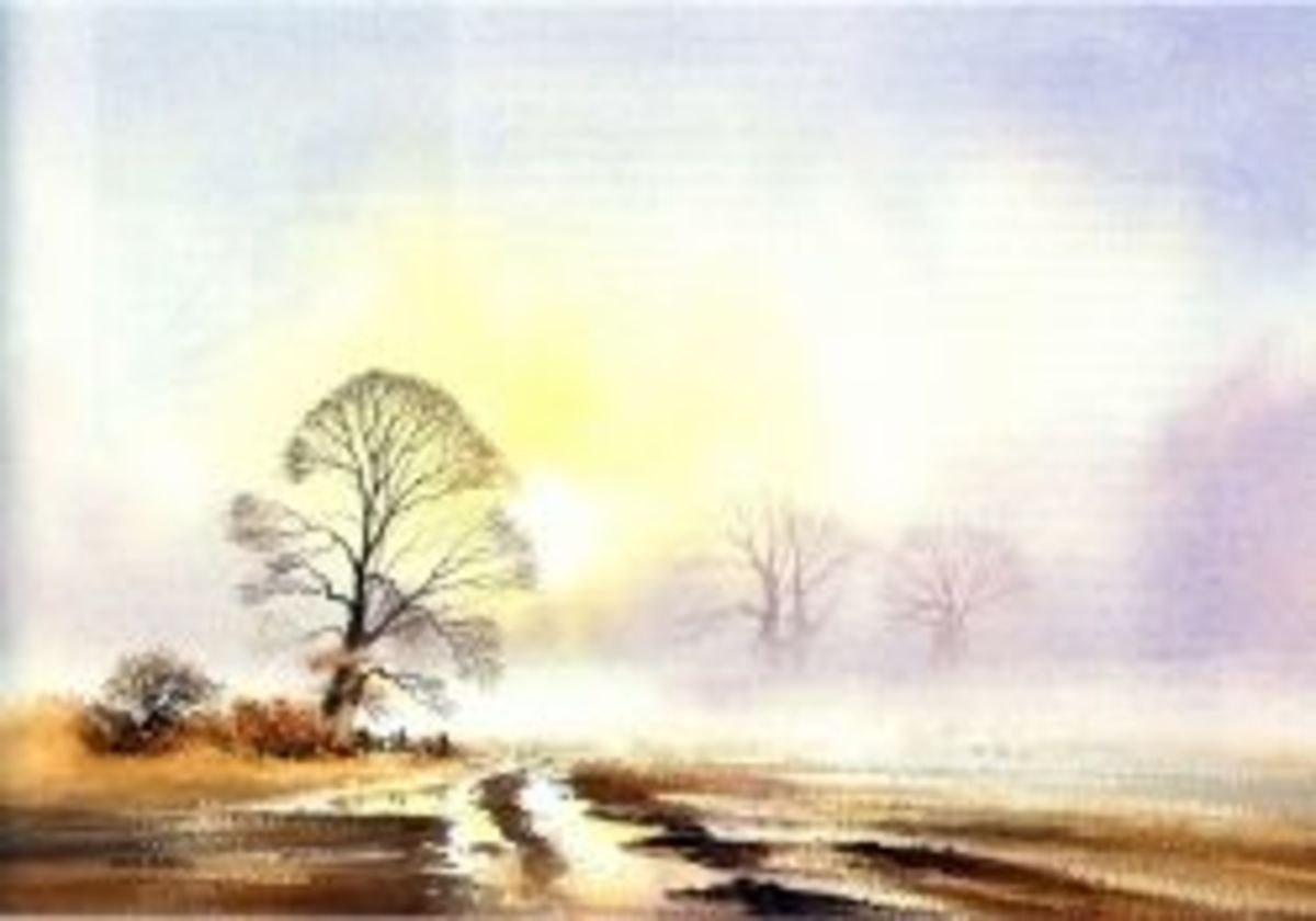 watercolour landscape tree field