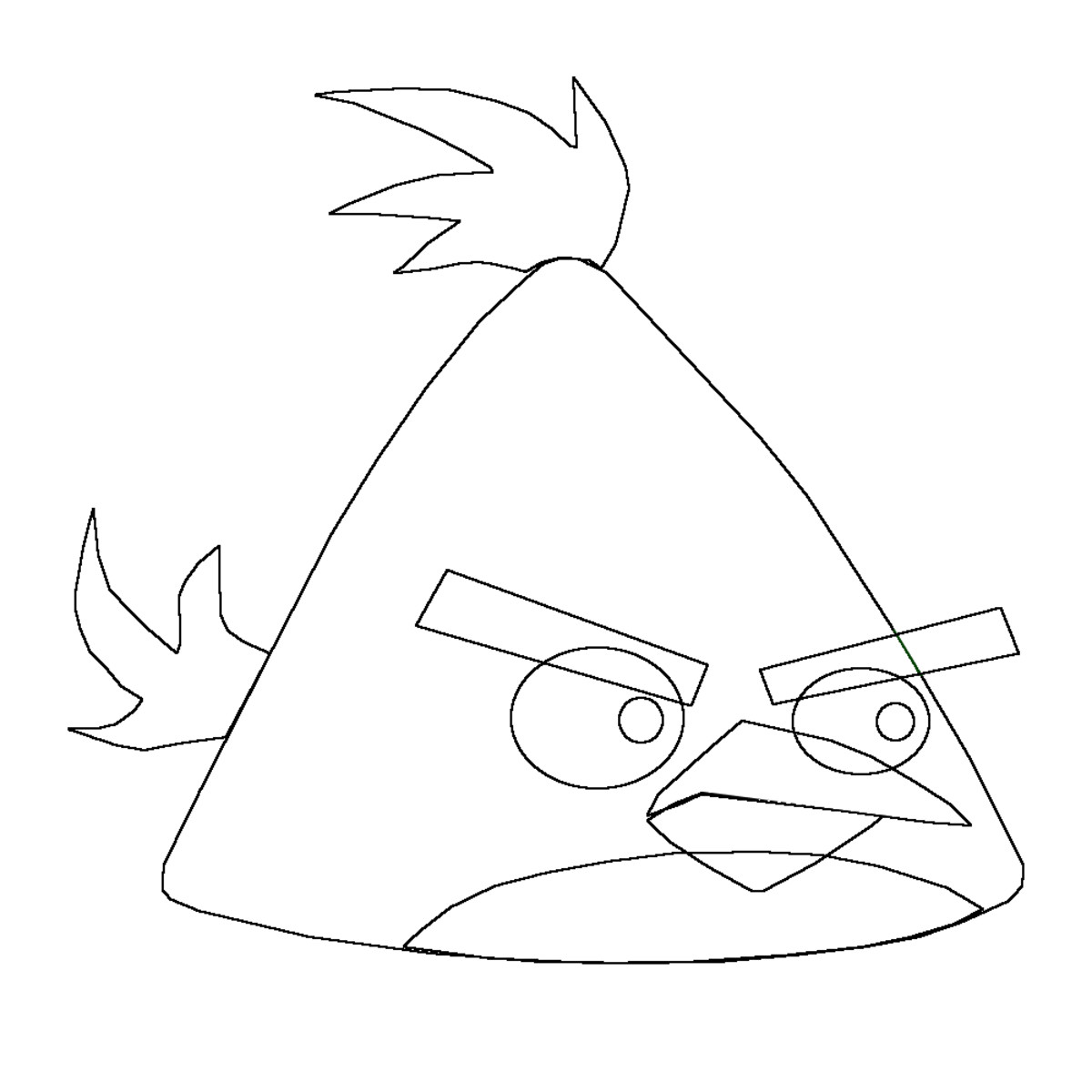 Tail feathers and plumage on the Angry Birds head.