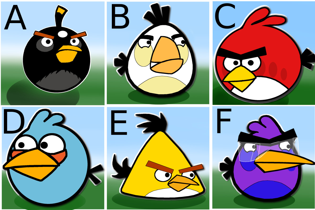 Spot the odd Angry bird in the image.
