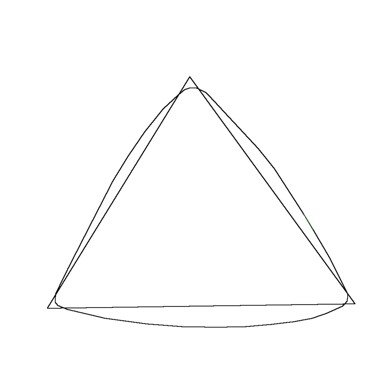 Outline drawn over your triangle shape to make the body shape more like the Yellow Angry Birds body.