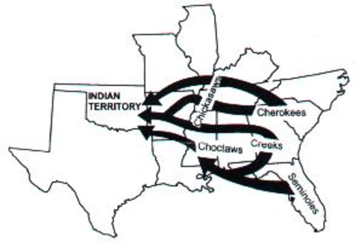 Simplified map of the Indian Removal routes.