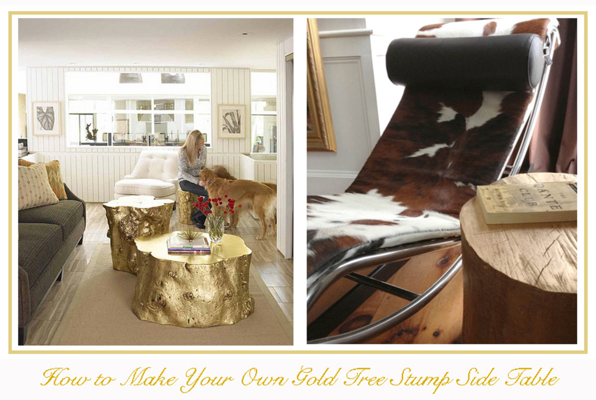 DIY Gold Tree Stump Table.