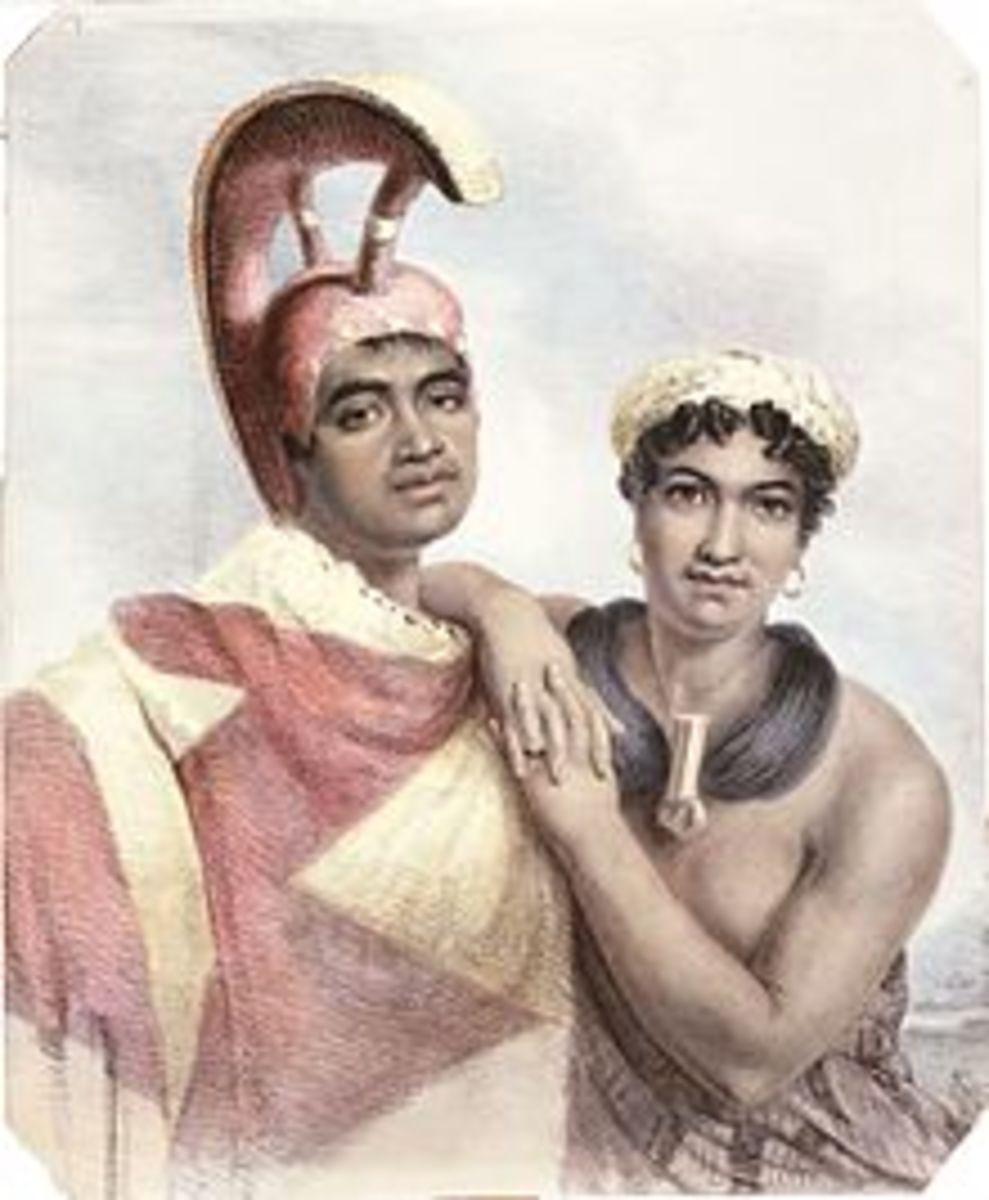 Chief Boki and wife Liliha.  Boki later became Governor of Island of O'ahu.