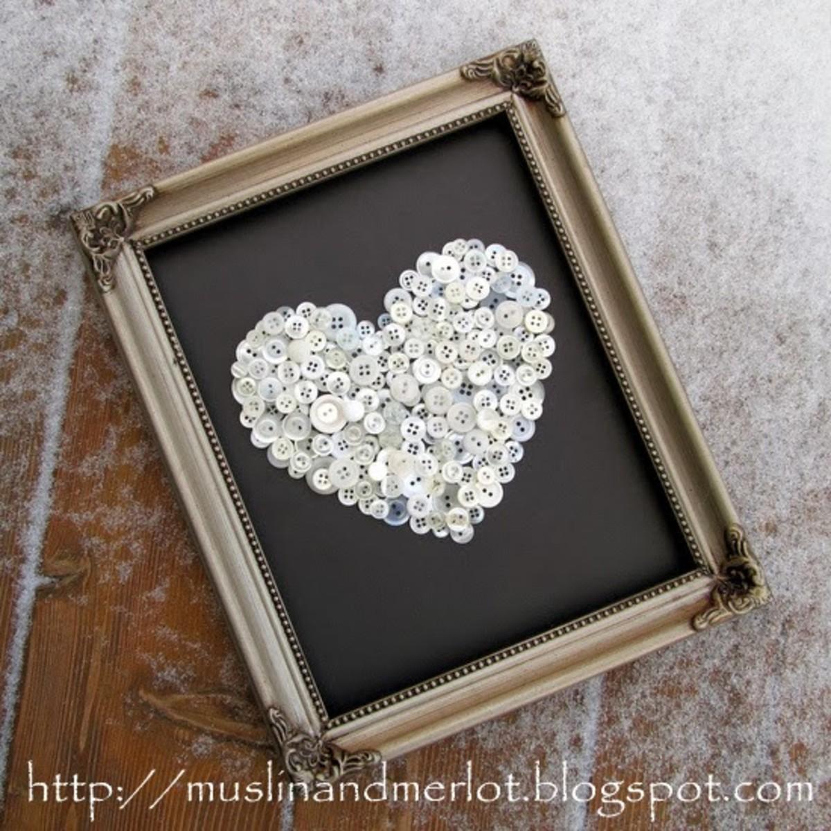 Button Hearts Frame Craft