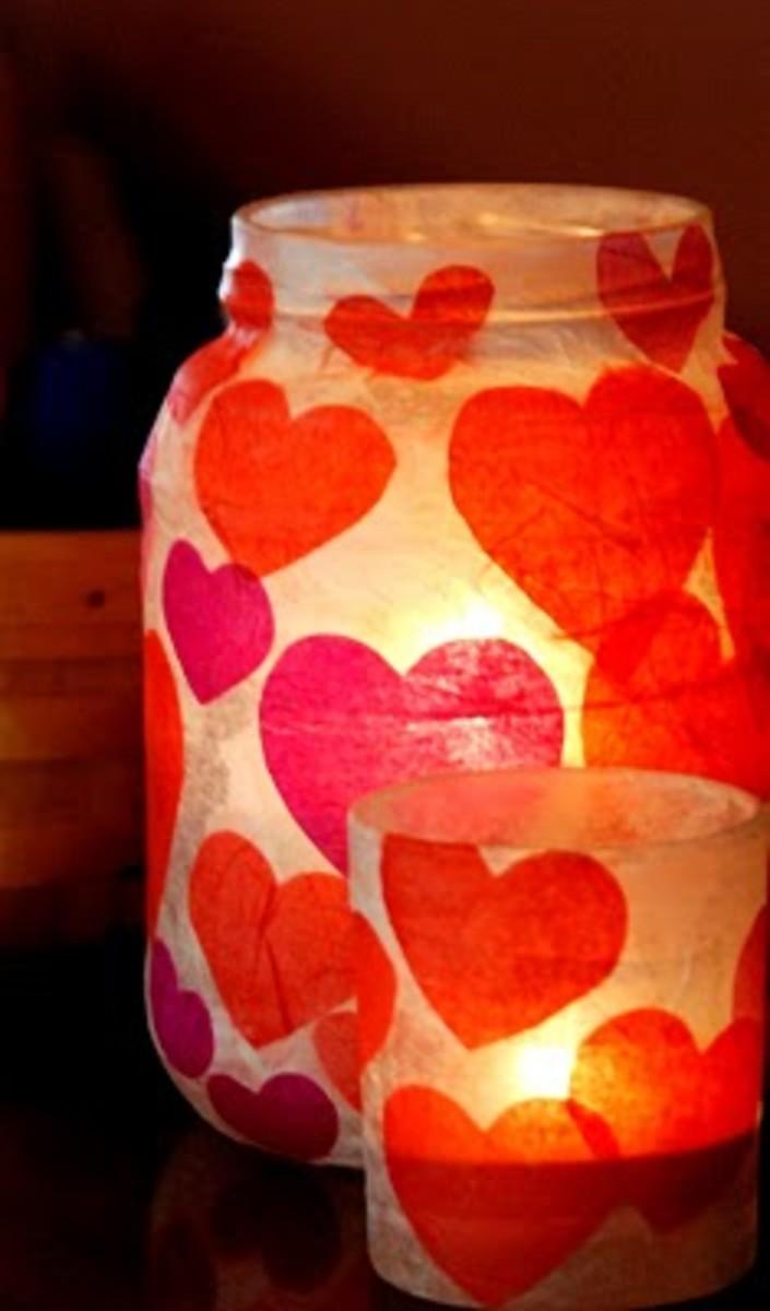 glass jar Valentine's luminaries