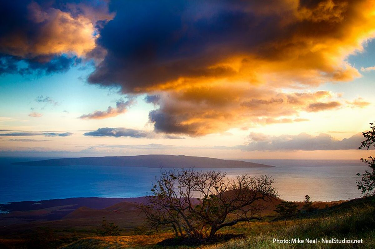 From Ulupalakua, Maui, one can see Kaho'olawe a short distance away.