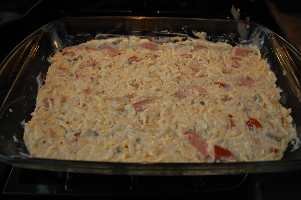 casserole before topping with cheese