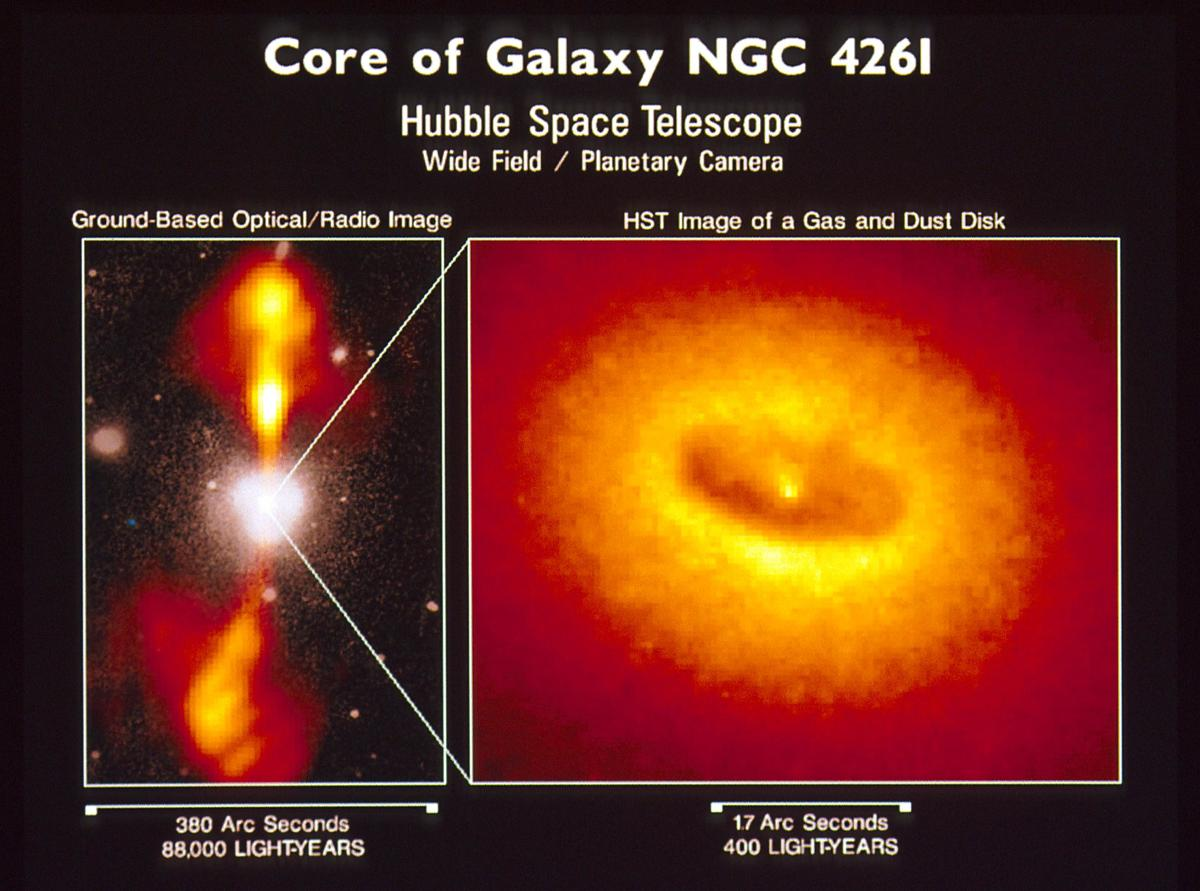 A ground-based radio telescope snapped the left photo of high-energy jets squirting out of the poles of the black hole at the heart of Galaxy NGC 4261. At right, Hubble snaps a close-up of the accretion disk of stars swirling around the black hole.