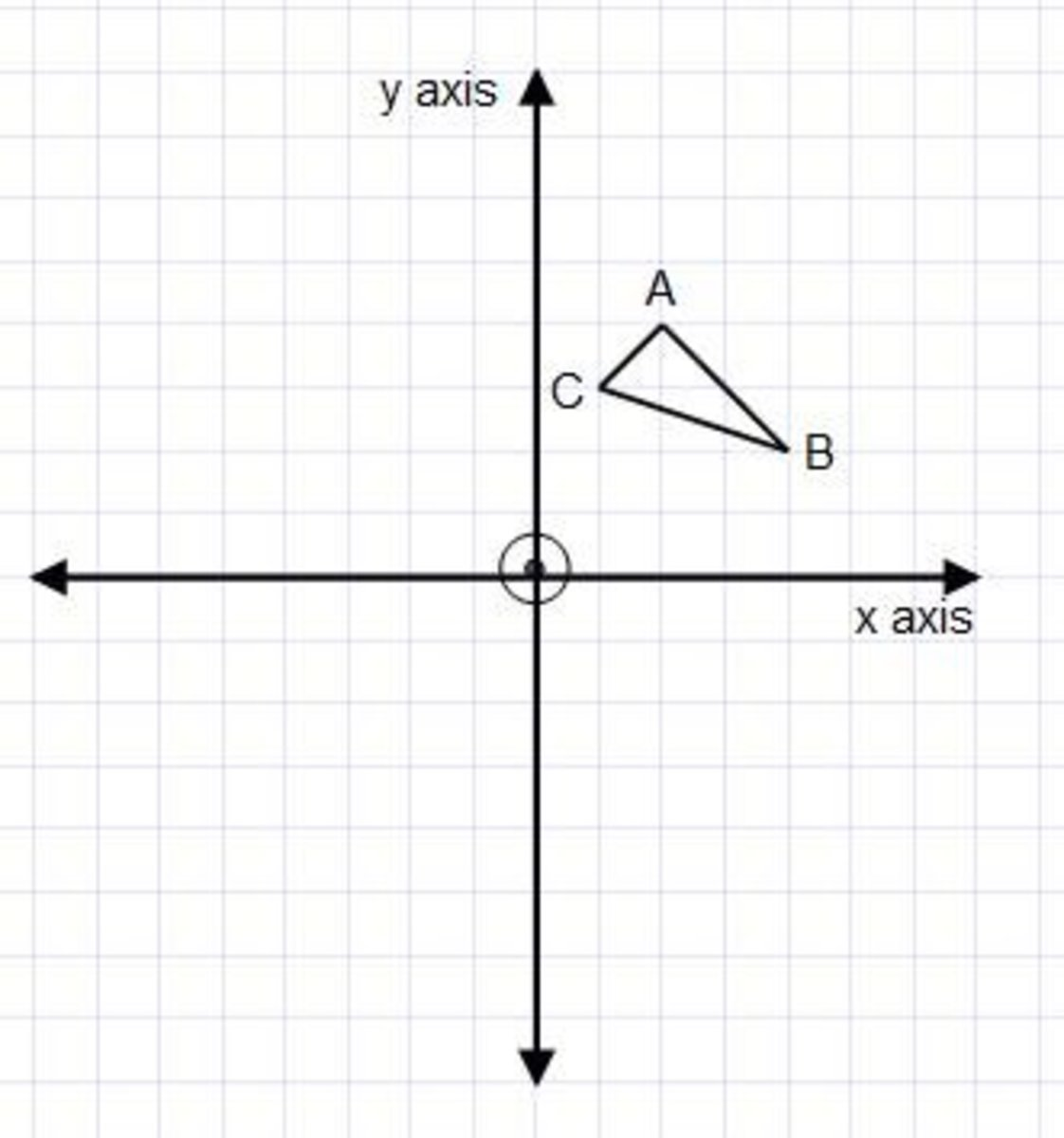 Examples on how to reflect a shape in the x-axis or y-axis on a coordinate grid.